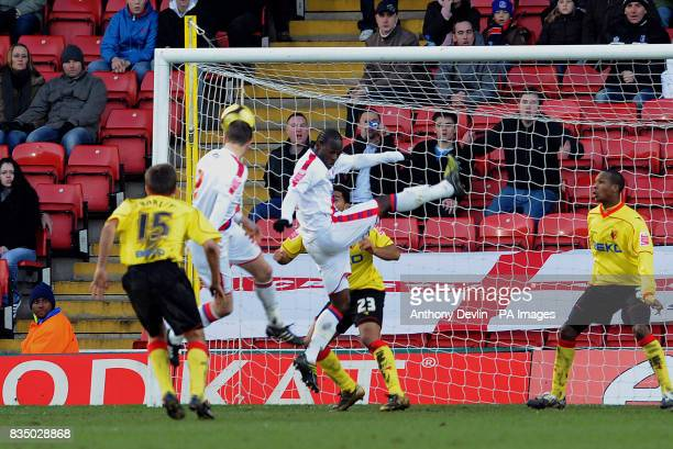 Crystal Palace's Clint Hill scores during the FA Cup Fourth Round at Vicarage Road Watford
