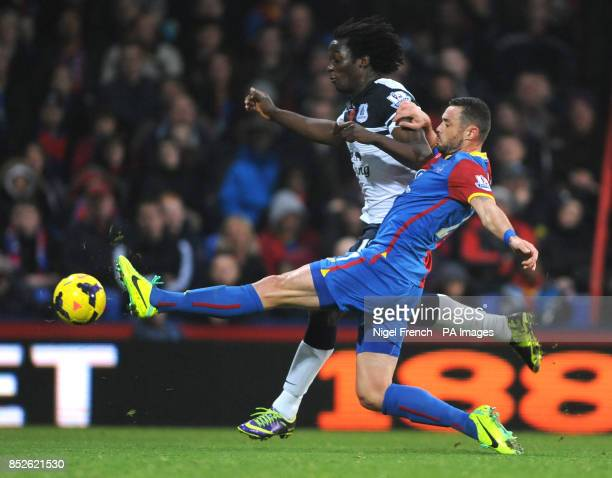 Crystal Palace's Damien Delaney and Everton's Romelu Lukaku battle for the ball during the Barclays Premier League match at Selhurst Park London