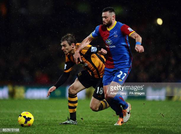 Crystal Palaces' Damien Delaney and Hull City's Nikica Jelavic during the Barclays Premier League match at Selhurst Park London
