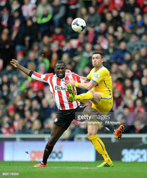 Crystal Palace's Damien Delaney and Sunderland's Jozy Altidore battle for the ball