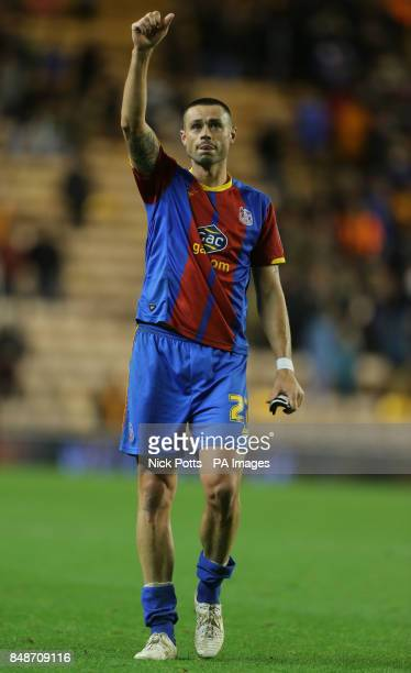 Crystal Palace's Damien Delaney celebrates his teams victory after the npower Championship match at the Molineux Stadium Wolverhampton