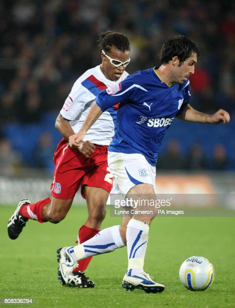 Crystal Palace's Edgar Davids and Cardiff City's Peter Whittingham during the npower Championship match at Cardiff City Stadium Cardiff Wales