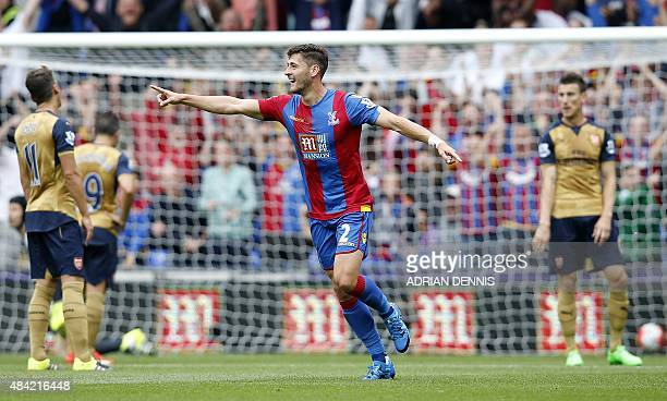 Crystal Palace's English defender Joel Ward celebrates after scoring their first goal during the English Premier League football match between...