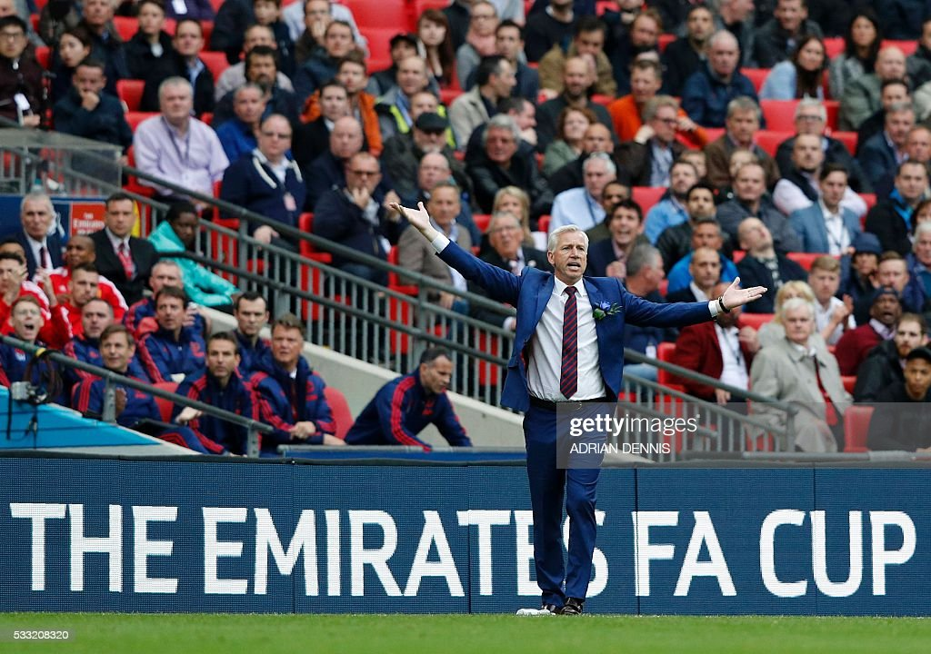 Crystal Palace's English manager Alan Pardew gestures on the touchline during the English FA Cup final football match between Crystal Palace and...