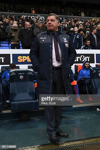 Crystal Palace's English manager Sam Allardyce arrives for the English FA Cup third round football match between Bolton Wanderers and Crystal Palace...