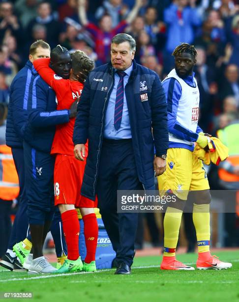 Crystal Palace's English manager Sam Allardyce leaves the pitch after the final whistle of the English Premier League football match between...