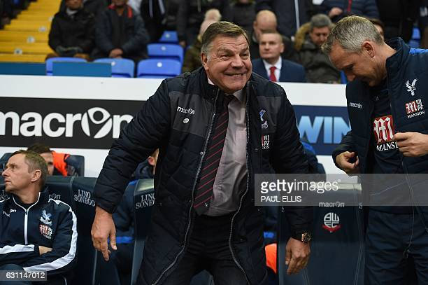 Crystal Palace's English manager Sam Allardyce reacts on the bench ahead of the English FA Cup third round football match between Bolton Wanderers...