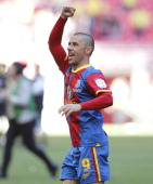 Crystal Palace's English striker Kevin Phillips celebrates at the final whistle in the English Championship Play Off final football match between...