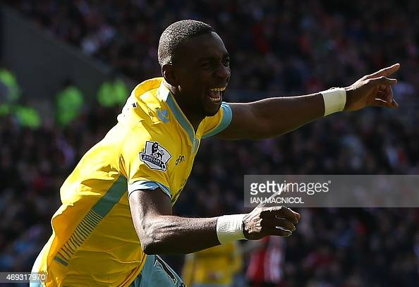 Crystal Palace's Frenchborn Congolese midfielder Yannick Bolasie celebrates scoring a goal during the English Premier League football match between...