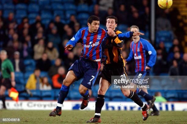 Crystal Palace's Hayden Mullins battles with Burnley's Dimitrios Papadopoulos