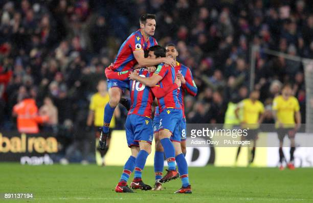 Crystal Palace's James McArthur celebrates scoring his side's second goal of the game with teammates during the Premier League match at Selhurst Park...