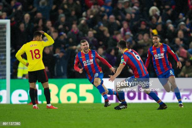 Crystal Palace's James McArthur celebrates scoring his side's second goal during the Premier League match between Crystal Palace and Watford at...
