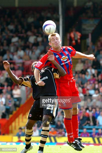 Crystal Palace's James Scowcroft and Charlton Athletic's Jose Semedo during the CocaCola Championship match at Selhurst Park London