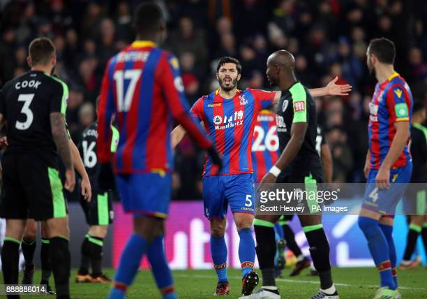 Crystal Palace's James Tomkins gestures towards team mate Christian Benteke following a penalty miss during the Premier League match at Selhurst Park...