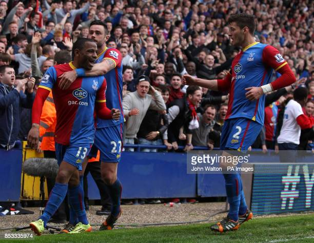 Crystal Palace's Jason Puncheon is congratulated on scoring the only goal of the game by teammates Damien Delaney and Joel Ward during the Barclays...