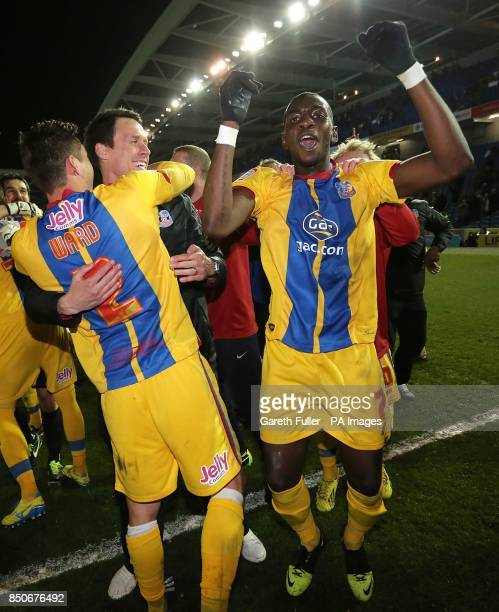 Crystal Palace's Joel Ward and Yannick Bolasie celebrate after the final whistle