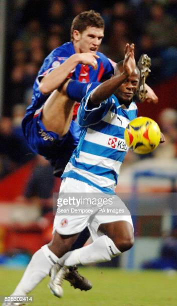 Crystal Palace's Jon Macken challenges Reading's Leroy Lita during the CocaCola Championship match at Selhurst Park London Friday January 20 2006...