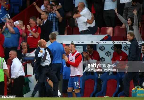 Crystal Palace's manager Ian Holloway celebrates their third goal of the game scored by Stuart O'Keefe during the Barclays Premier League match at...