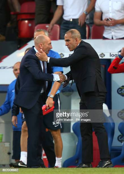 Crystal Palace's manager Ian Holloway is congratulated by Sunderland's manager Paolo Di Canio following the Barclays Premier League match at Selhurst...