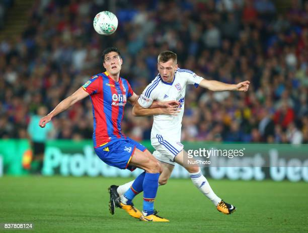 Crystal Palace's Martin Kelly holds of Ipswich Town's Ben Morris during Carabao Cup 2nd Round match between Crystal Palace and Ipswich Town at...