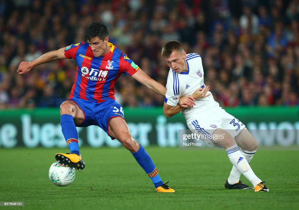 Crystal Palace's Martin Kelly holds of Ipswich Town's Ben Morris during Carabao Cup 2nd Round match between Crystal Palace and Ipswich Town at Selhurst Park Stadium, London, England on 22 August 2017.