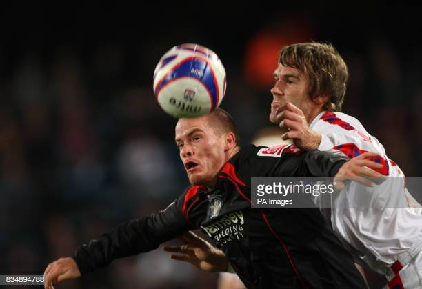 Crystal Palace's Matt Lawrence and Barnsley's Iain Hulme during the CocaCola Championship match at Selhurst Park London