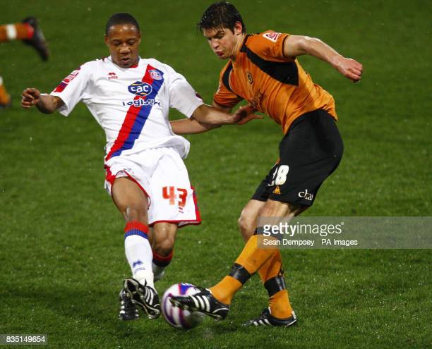 Crystal Palace's Nathaniel Clyne battles with Wolves' Goerge Friend during the CocaCola Championship match at Selhurst Park London