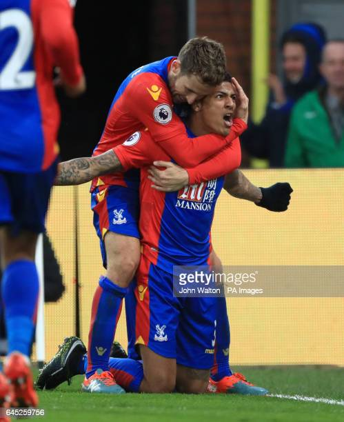 Crystal Palace's Patrick Van Aanholt celebrates scoring his side's first goal of the game with team mates during the Premier League match at Selhurst...