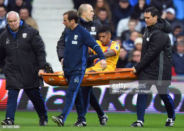 Crystal Palace's Patrick Van Aanholt is carried off injured during the Premier League match at The Hawthorns West Bromwich