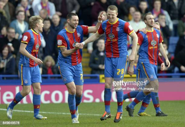 Crystal Palace's Peter Ramage celebrates scoring with team mate Damien Delaney during the npower Football League Championship match at Selhurst Park...