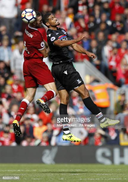 Crystal Palace's Ruben LoftusCheek and Liverpool's Jordan Henderson battle for the ball during the Premier League match at Anfield Liverpool