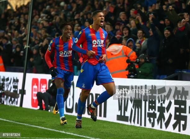 Crystal Palace's Ruben LoftusCheek celebrates scoring his sides first goal during Premier League match between Crystal Palace and Stoke City at...