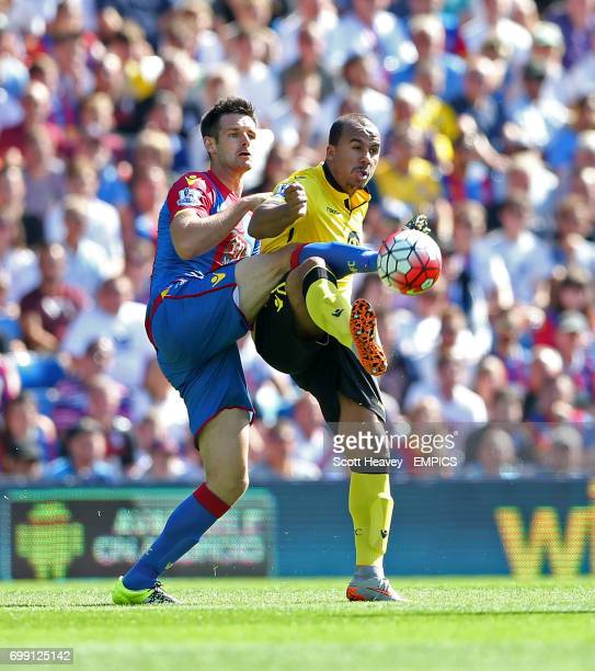 Crystal Palace's Scott Dann and Aston Villa's Gabby Agbonlahor