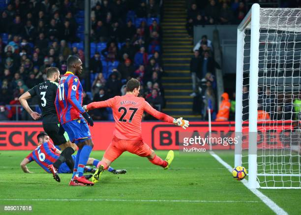 Crystal Palace's Scott Dann scores his sides second goal during Premier League match between Crystal Palace and AFC Bournemouth at Selhurst Park...