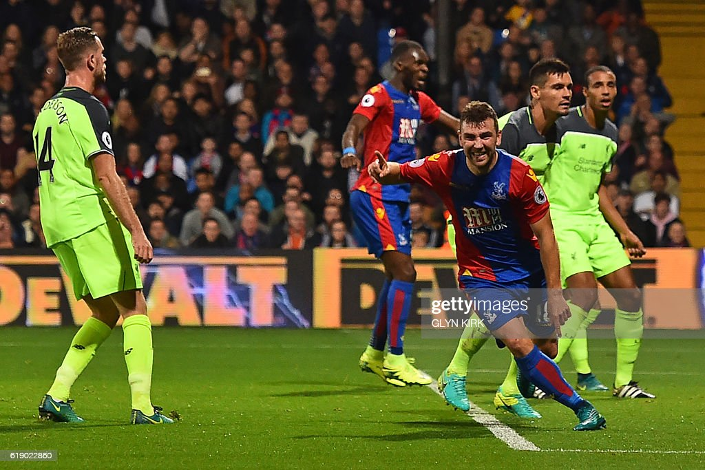 Crystal Palace's Scottish midfielder James McArthur (3rd R) celebrates after scoring his second goal during the English Premier League football match between Crystal Palace and Liverpool at Selhurst Park in south London on October 29, 2016. / AFP / Glyn KIRK / RESTRICTED TO EDITORIAL USE. No use with unauthorized audio, video, data, fixture lists, club/league logos or 'live' services. Online in-match use limited to 75 images, no video emulation. No use in betting, games or single club/league/player publications. /