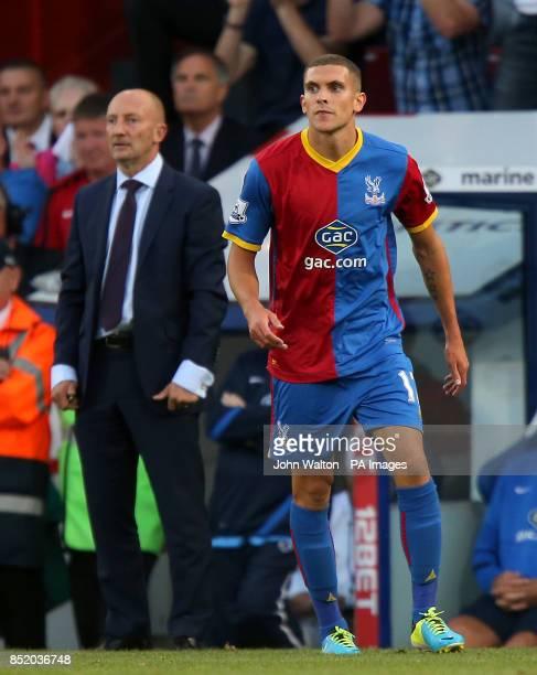 Crystal Palace's Stuart O'Keefe and manager Ian Holloway
