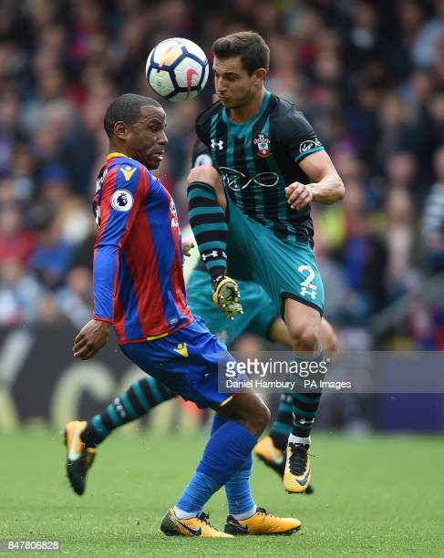 Crystal Palace's Timothy FosuMensah and Southampton's Cedric Soares battle for the ball during the Premier League match at Selhurst Park London