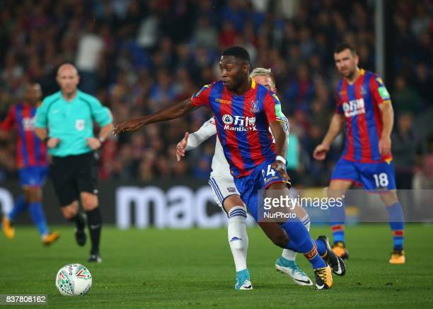 Crystal Palace's Timothy FosuMensah beats Ipswich Town's Monty Patterson during Carabao Cup 2nd Round match between Crystal Palace and Ipswich Town...