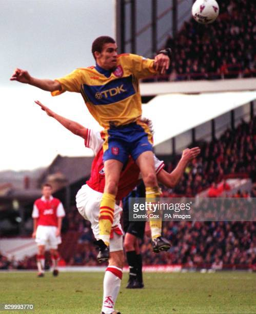 Crystal Palace's Valerian Ismael towers above Arsenal's David Platt to clear during today's FA Carling Premiership match at Highbury Photo by Derek...