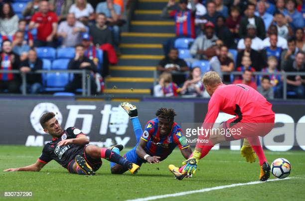 Crystal Palace's Wilfried Zaha during Premier League match between Crystal Palace and Huddersfield Town at Selhurst Park Stadium London England on 12...