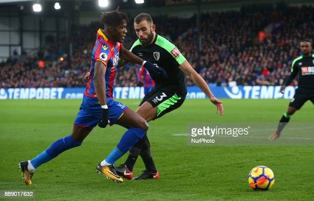 Crystal Palace's Wilfried Zaha takes on Bournemouth's Steve Cook during Premier League match between Crystal Palace and AFC Bournemouth at Selhurst...