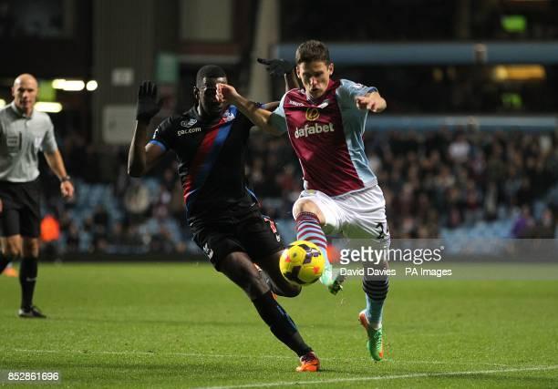 Crystal Palace's Yannick Bolasie and Aston Villa's Aleksandar Tonev battle for the ball