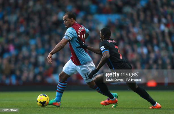 Crystal Palace's Yannick Bolasie and Aston Villa's Gabriel Agbonlahor battle for the ball
