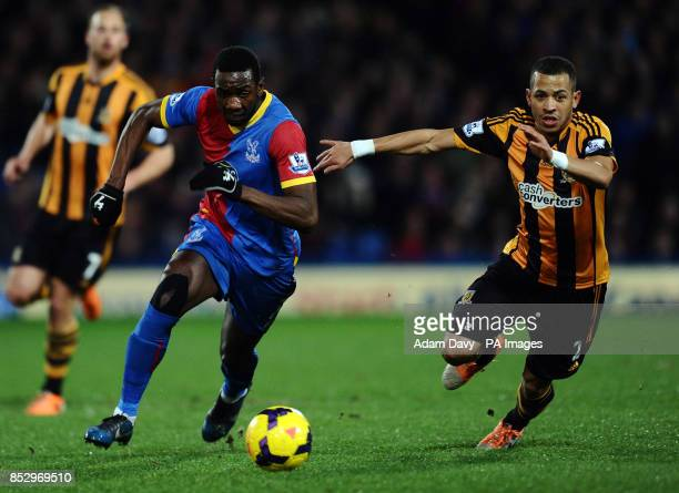 Crystal Palaces' Yannick Bolasie and Hull City's Liam Rosenior during the Barclays Premier League match at Selhurst Park London