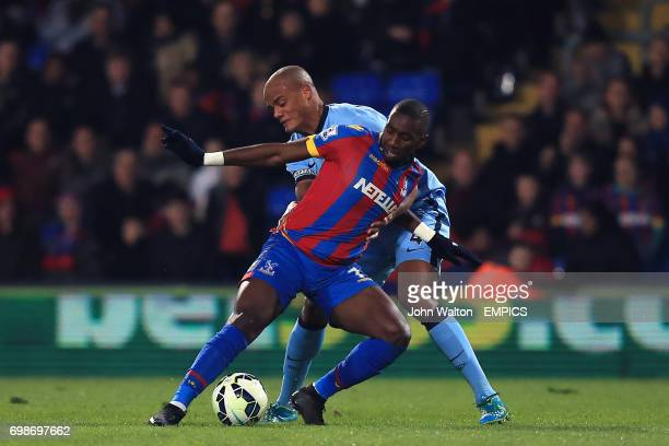 Crystal Palace's Yannick Bolasie and Manchester City's Vincent Kompany battle for the ball