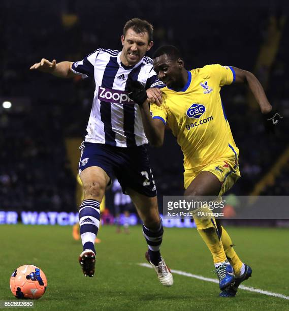 Crystal Palace's Yannick Bolasie beats West Bromwich Albion defender Gareth McAuley during the FA Cup Third Round match at The Hawthorns West Bromwich