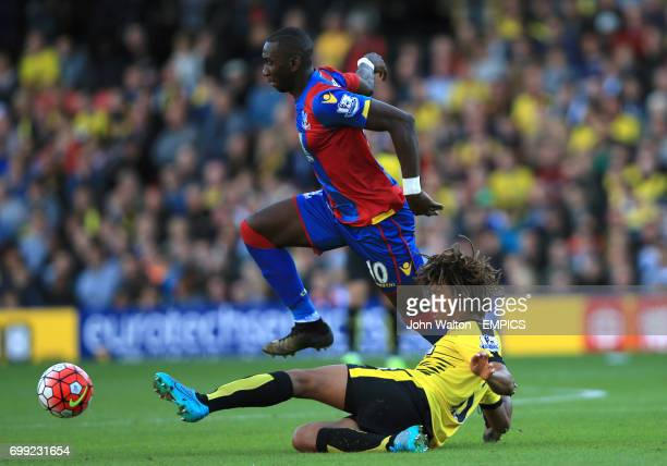 Crystal Palace's Yannick Bolasie is tackled by Watford's Nathan Ake