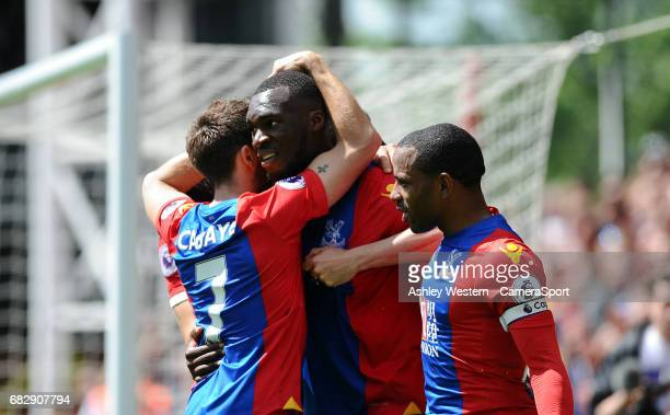 Crystal Palace's Yohan Cabaye congratulates Christian Benteke as he scores his sides second goal during the Premier League match against Hull City at...