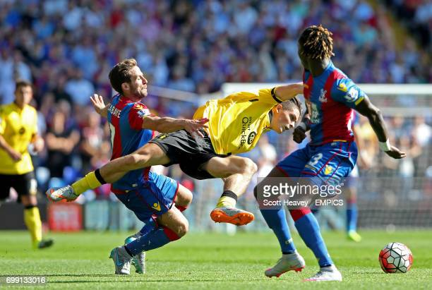 Crystal Palace's Yohan Cabaye fouls Aston Villa's Jack Grealish