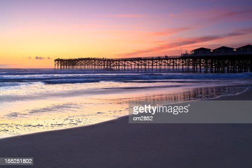 Crystal Pier at sunset : Stock Photo